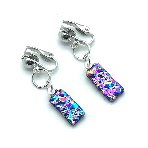 Dichroic Glass Clip-On Earrings, Rectangle shape Pink and Blue - Side Street Studio