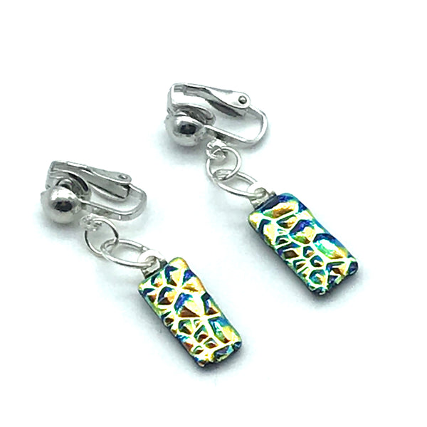 Dichroic Glass Clip-On Earrings, Rectangle shape Blue and Gold - Side Street Studio