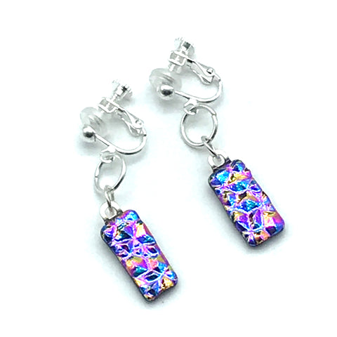 Dichroic Glass Clip-On Earrings, Rectangle shape Blue and Pink - Side Street Studio