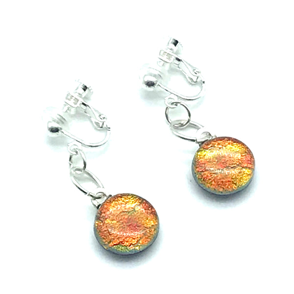 Dichroic Glass Clip-On Earrings, Round Sparkly Orange - Side Street Studio