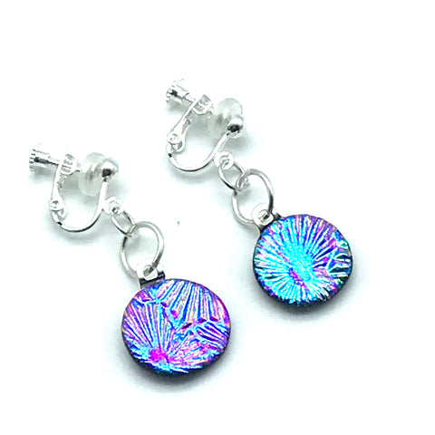 Dichroic Glass Clip-On Earrings, Round Blue and Pink Sparkle - Side Street Studio