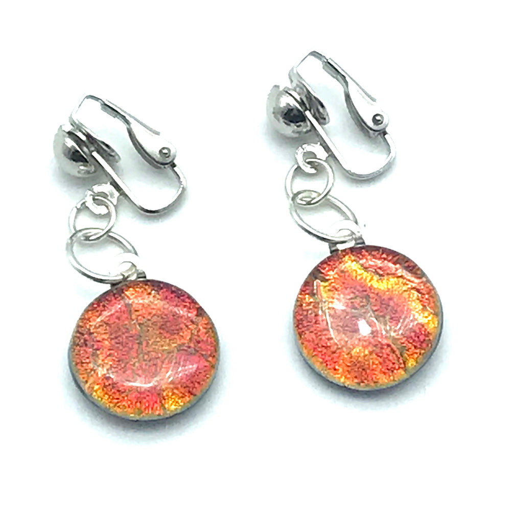 Dichroic Glass Clip-On Earrings, Round Orange Glitter - Side Street Studio