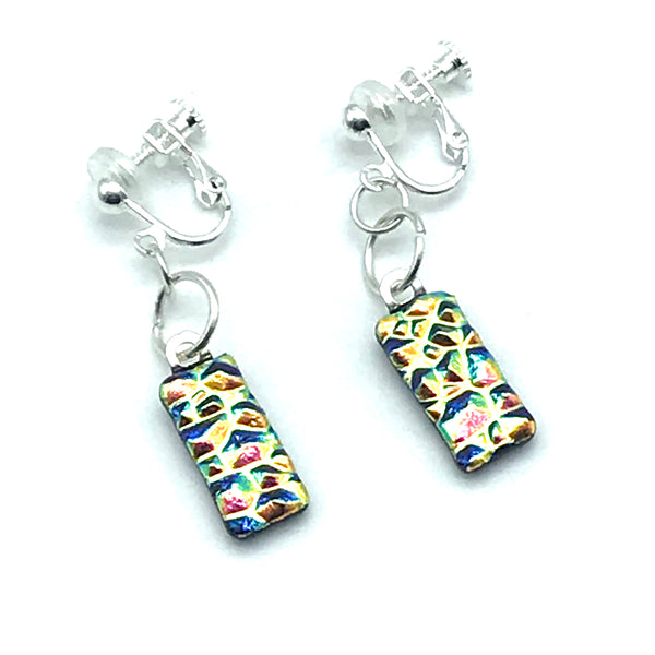 Dichroic Glass Clip-On Earrings, Rectangle Gold and Blue - Side Street Studio