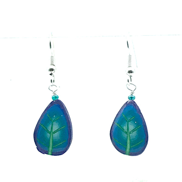 Polymer Clay Earrings in Leaf Shape, Teals & Purples - Side Street Studio