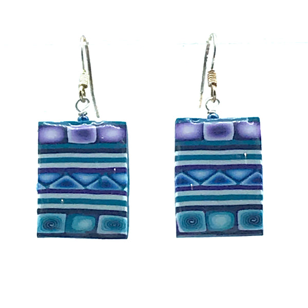 Polymer Clay Earrings in Rectangular Shape, Teal & Purples - Side Street Studio