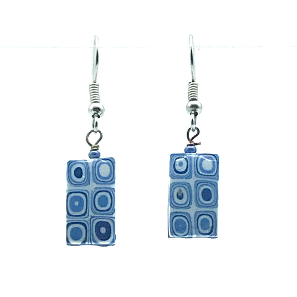 Polymer Clay Earrings in Small Rectangle Shape in Blue & White - Side Street Studio