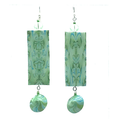 Large Polymer Clay Earrings in Rectangle Shape in Green Marble with bead - Side Street Studio