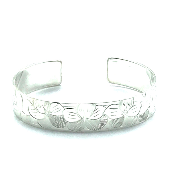 Sterling Silver Cuff Bracelet with Johnny Jump Up Flowers - Side Street Studio