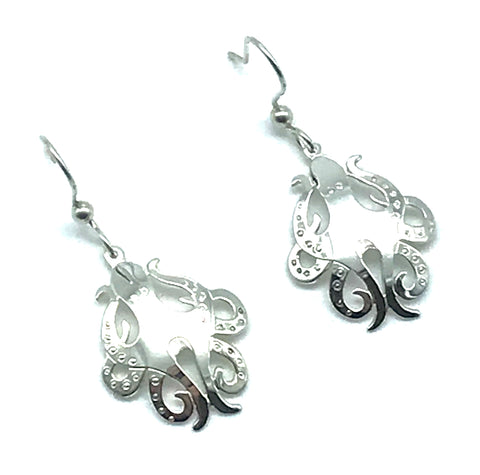 Sterling Silver Octopus Earrings - Side Street Studio