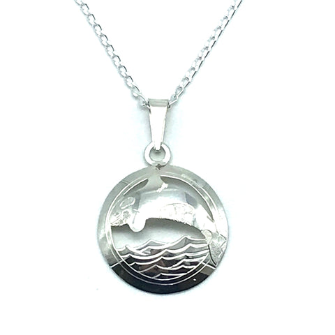 Sterling Silver Orca in Circle Pendant Necklace - Side Street Studio