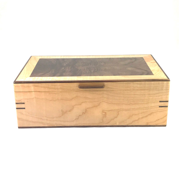 Walnut and Western Maple Large Jewlery Box - Side Street Studio