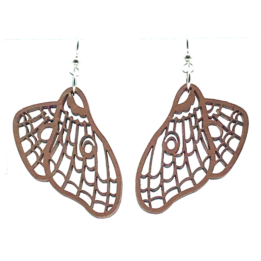 Wood Earrings with Luna design in Rose Gold -Side Street Studio