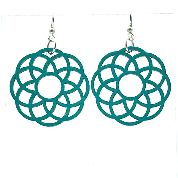 Wooden Earrings in Rosette, Turquoise - Side Street Studio