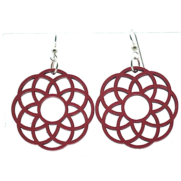 Wooden Earrings in Rosette, Fire Red - Side Street Studio