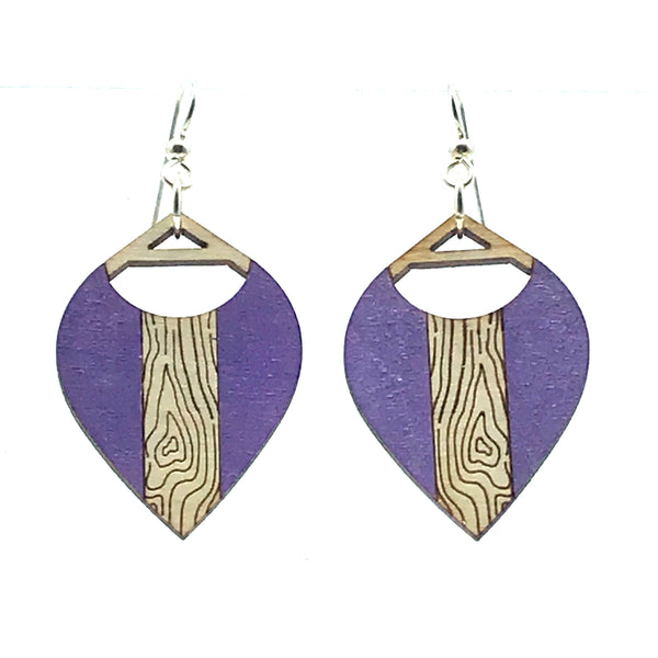 Wooden Earrings in Droplette, Purple - Side Street Studio