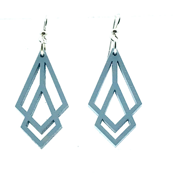 Wooden Earrings in Prism, Blue Mist - Side Street Studio
