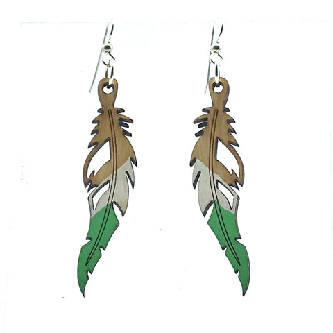 Wooden earrings in Quill design, ombre green - Side Street Studio