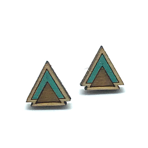 Triangle Stud Earring, Green - Side Street Studio
