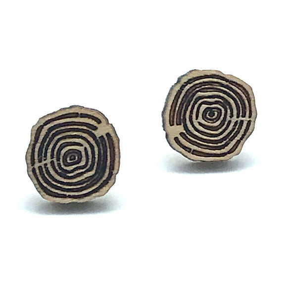 Log Design Stud Earring, Natural - Side Street Studio