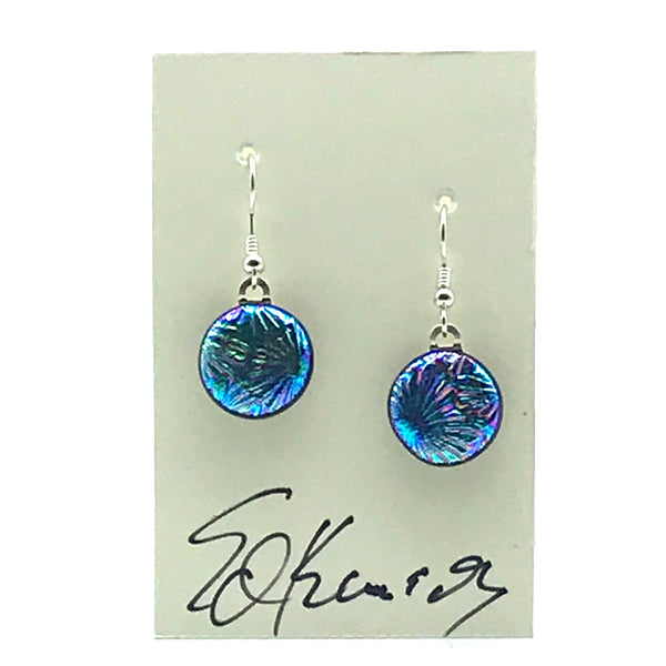 Dichroic Glass Earrings, Round Turquoise and Purple - Side Street Studio