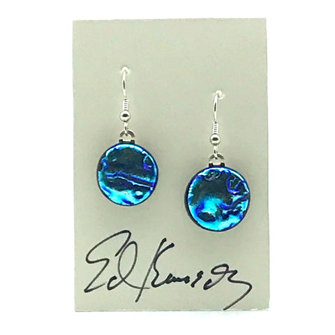 Dichroic Glass Earrings, Round Aqua Blue - Side Street Studio