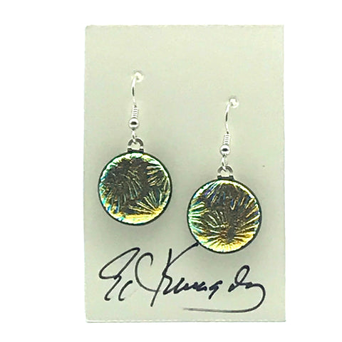Dichroic Glass Earrings, Round Golden - Side Street Studio