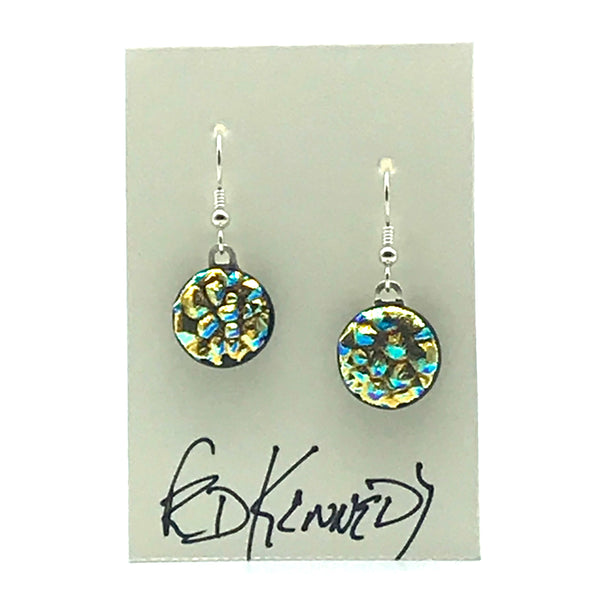 Dichroic Glass Earrings, Round Copper and Turquoise - Side Street Studio
