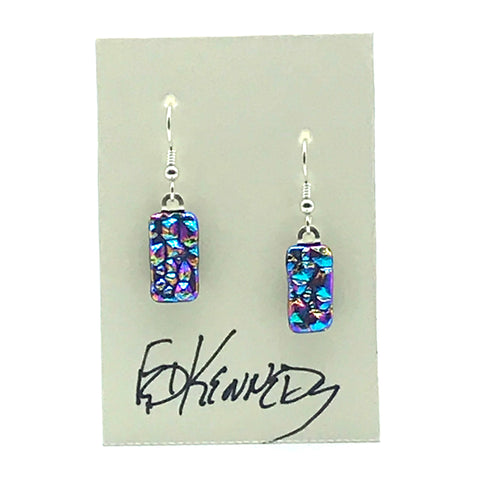 Dichroic Glass Earrings, Rectangular Pink and Blues - Side street Studio