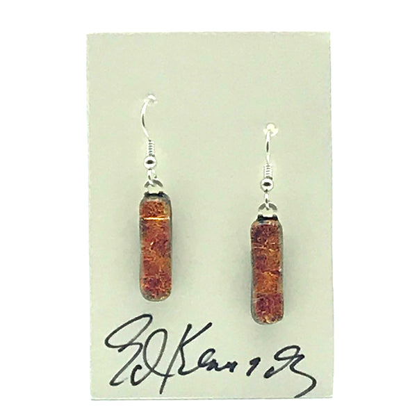 Dichroic Glass Earrings, Narrow Rectangular Orange Sparkle - Side Street Studio