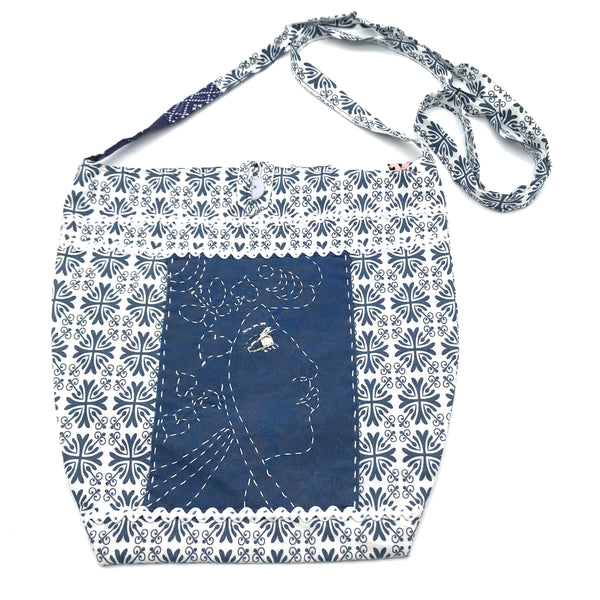 Miss Belle's Caravan Bag in Blue and White