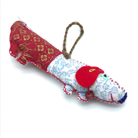 Miss Belle's Caravan Wiener Dog in 1/2 Red and 1/2 White & Blue - Side Street Studio