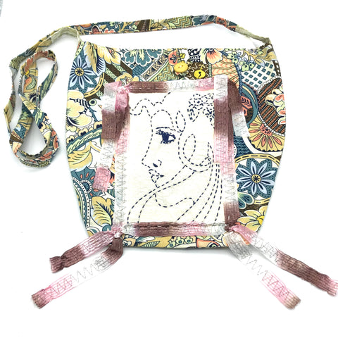 Miss Belle's Caravan Bag in Pale Blue, Beige and Coral Colouring - Side Street Studio