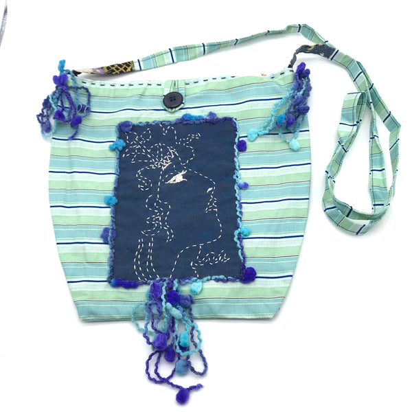 Miss Belle's Caravan Bag in Blue and Pale Greens - Side Street Studio