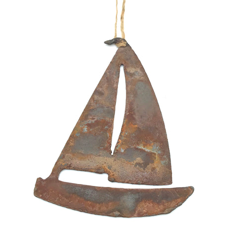 Rusted Steel hanging Sailboat, 4 x 3 inches
