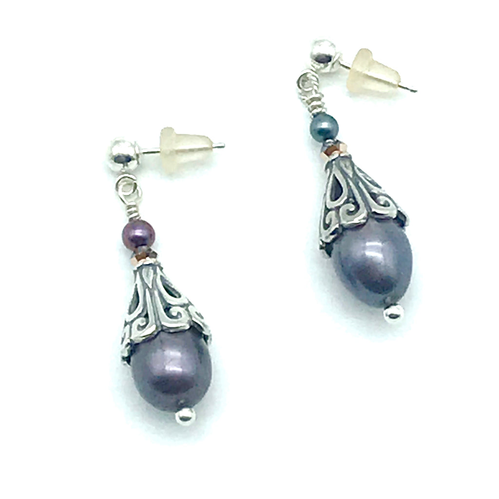 Bali Silver with Peacock Pearl Post Earrings - Side Street Studio