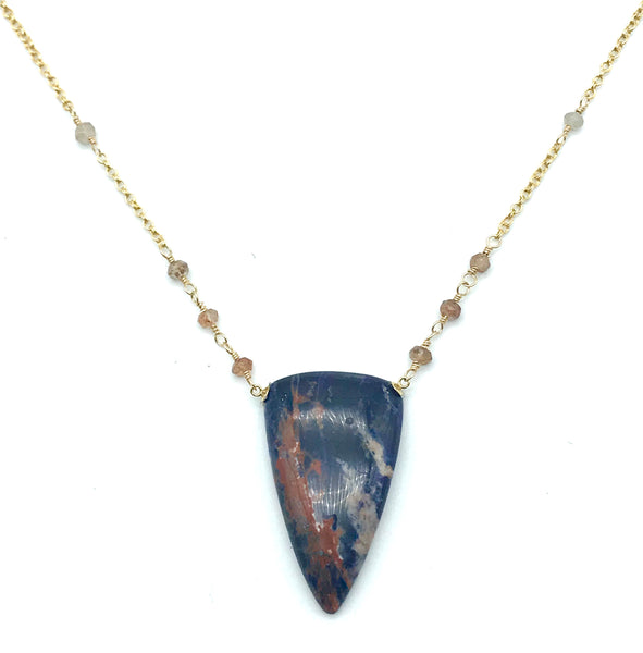 Yellow Gold Chain with Sodalite Drop Pendant Necklace - Side Street Studio
