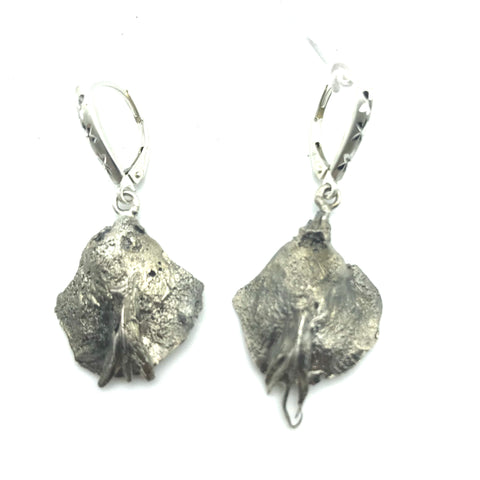 Sterling Silver Earrings design cast from Fir Cone Seed