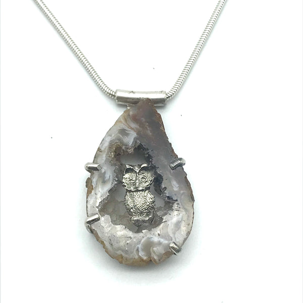 Sterling Silver Small Owl in Crystal Pendant Necklace