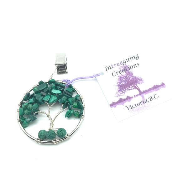 Tree of Life Car Fresheners with Malachite and Glass