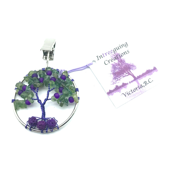 Tree of Life Car Fresheners with Green Apatite and Frosted Glass