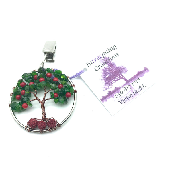 Tree of Life Car Fresheners with Chrome Diopside and Bamboo Coral Bead