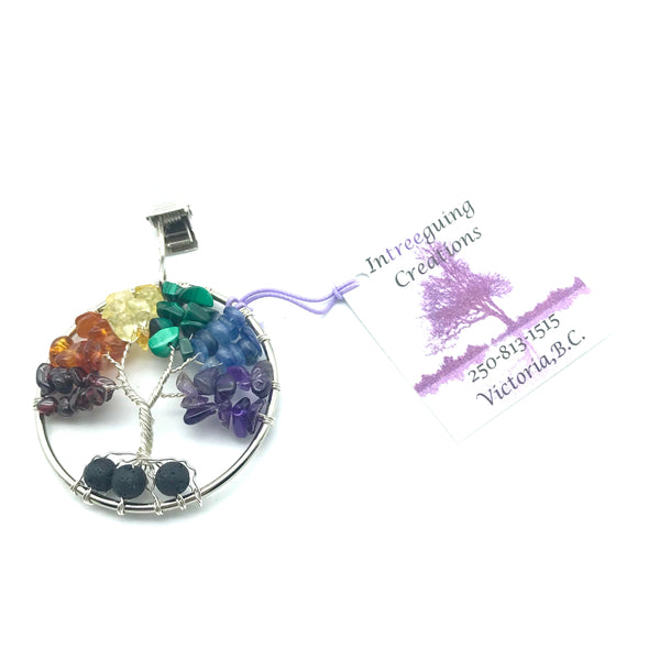 Tree of Life Car Fresheners with Silver Wire and Rainbow