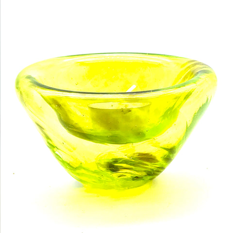 Medium Glass Bubble Design Candle Holder, Yellow