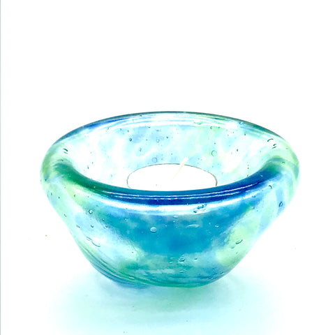 Medium Glass Bubble Design Candle Holder, Blue Green Swirl