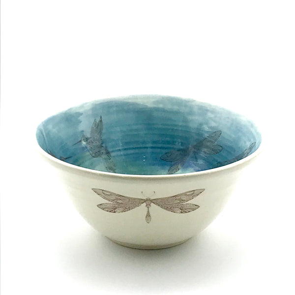 Pottery Medium Bowl with Hummingbird, Dragonfly and Butterfly