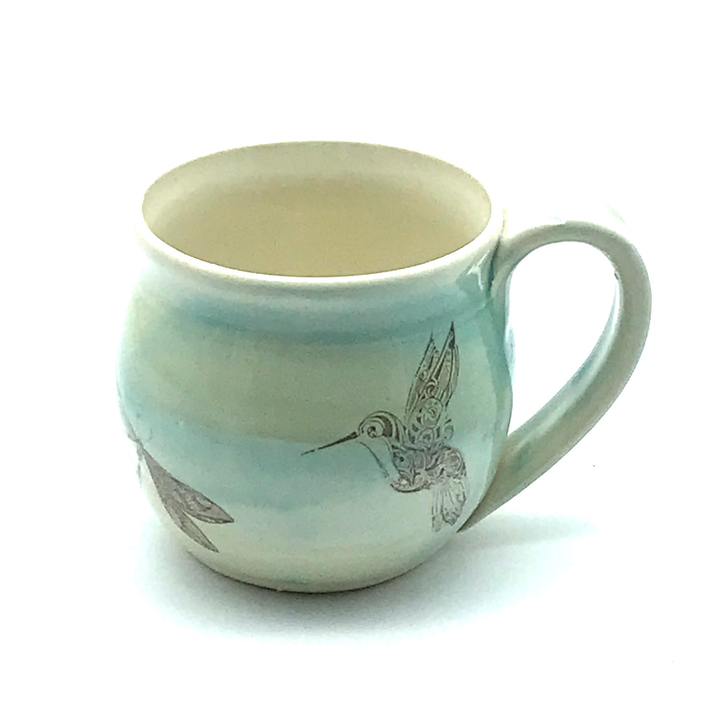 Pottery Teacup with Dragonfly and Hummingbird