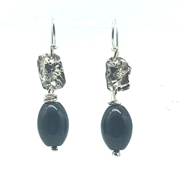 Fused Sterling Silver with Black Onyx Stone Earrings - Side Street Studio