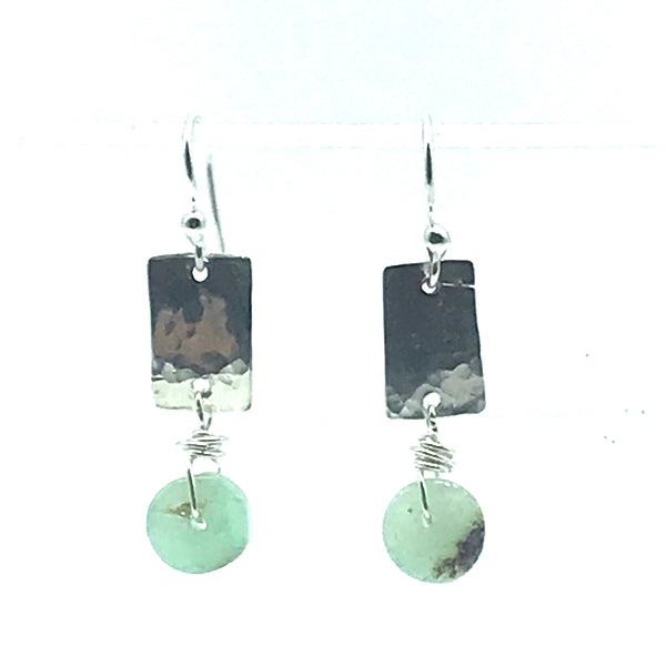 Hammered Sterling Silver Rectangle with Chrysopase Stone Earrings - Side Street Studio