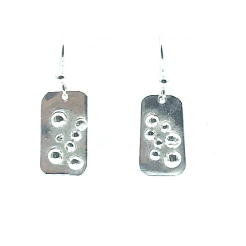 Sterling Silver Rectangle with Bubble Design Earrings - Side Street Studio