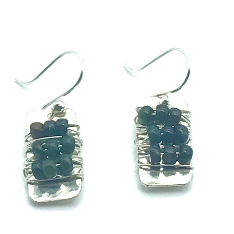 Sterling Silver Rectangle with B. C. Jade Stones Earrings - Side Street Studio